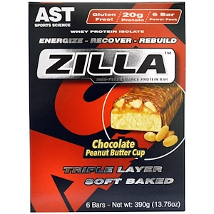 АСТ Спортс Сайэнс, Zilla Protein Bars, Chocolate Peanut Butter Cup, 6 Bars — 13.76 oz (390 g) отзывы