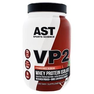 AST Sports Science, VP2, proteína de suero de leche aislada, frutillas con crema, 1.99 lbs (902.4 g)