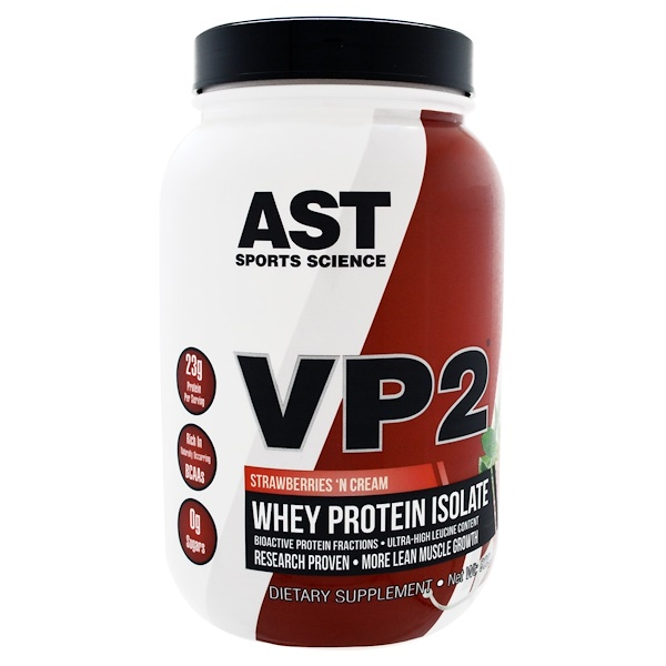 AST Sports Science, VP2, Whey Protein Isolate, Strawberries 'N Cream, 1.99 lbs (902.4 g) (Discontinued Item)