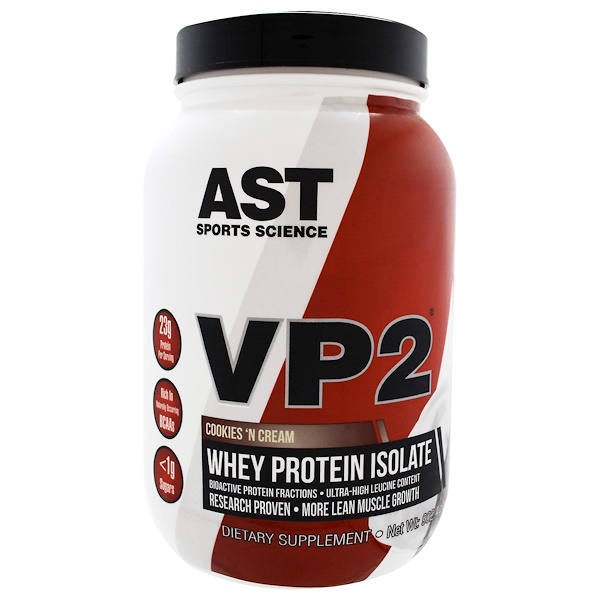 AST Sports Science, VP2, Whey Protein Isolate, Cookies 'N Cream, 1.99 lbs (902.4 g) (Discontinued Item)