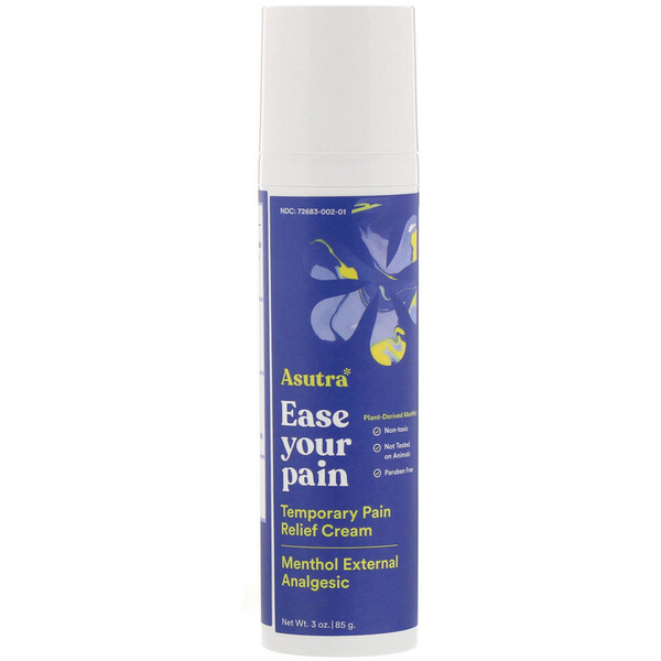 Asutra, Ease Your Pain, Temporary Pain Relief Cream, 3 oz (85 g)