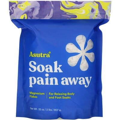 Купить Asutra Soak Pain Away, Magnesium Flakes, 2 lbs (907 g)