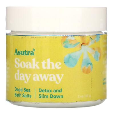 Купить Asutra Soak The Day Away, Dead Sea Bath Salts, Detox and Slim Down, 2 oz (57 g)
