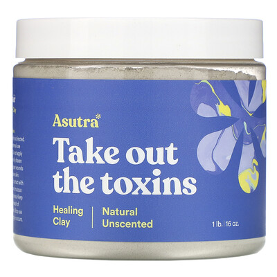 Купить Asutra Take Out The Toxins, Healing Clay, Natural Unscented, 1 lb (16 oz)