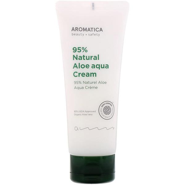 品牌從A - ZAromatica類別美容保濕乳液 & 乳霜K-Beauty保濕乳液,乳霜類別美容保濕乳液 & 乳霜日間保濕乳液 & 乳霜:Aromatica, 95% Natural Aloe Aqua Cream, 5、2 oz (150 g)