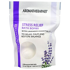 Smith & Vandiver, Stress Relief Bath Bombs with Lavender Essential, 4 Effervescent Bath Balls, 0.8 oz (22 g) Each