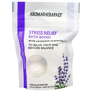 Smith & Vandiver, Stress Relief Bath Bombs with Lavender Essential, 4 Effervescent Bath Balls, 0.8 oz (22 g) Each