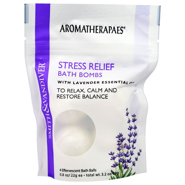 Stress Relief Bath Bombs with Lavender Essential, 4 Effervescent Bath Balls, 0.8 oz (22 g) Each