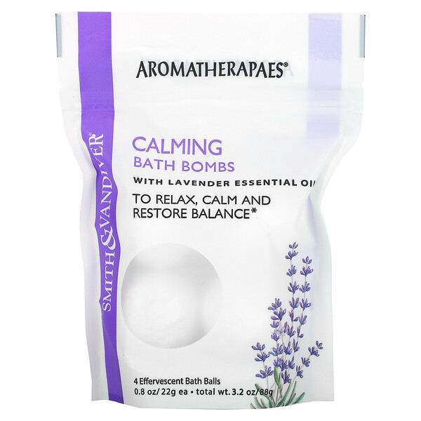 Calming Bath Bombs with Lavender Essential Oil, 4 Effervescent Bath Balls, 0.8 oz (22 g) Each