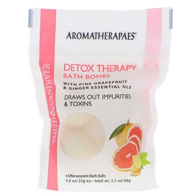 Купить Терапевтические очищающие бомбочки для ванны с эфирными маслами розового грейпфрута и имбиря, 4 шипучих шарика для ванны по 0, 8 унции (22 г)