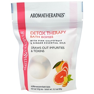 Smith & Vandiver, Detox Therapy Bath Bombs with Pink Grapefruit & Ginger Essential Oils, 4 Effervescent Bath Balls, 0.8 oz (22 g) Each