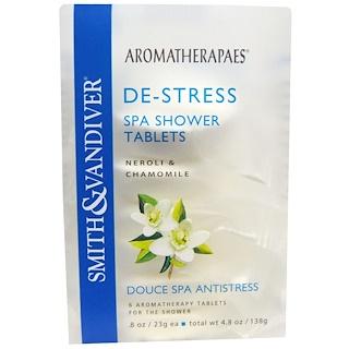 Smith & Vandiver, De-Stress, Spa Shower Tablets, Neroli & Chamomile, 6 Aromatherapy Tablets, 8 oz (23 g) Each