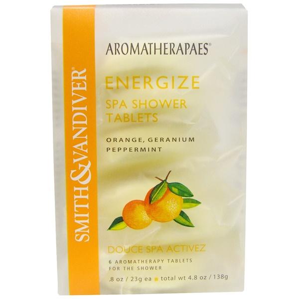 Smith & Vandiver, Energize, Spa Shower Tablets, Orange, Geranium Peppermint, 6 Aromatherapy Tablets, 8 oz (23 g) Each (Discontinued Item)