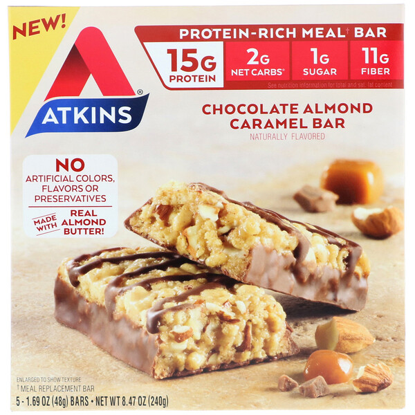 Meal Bar, Chocolate Almond Caramel Bar, 5 Bars, 1.69 oz (48 g) Each