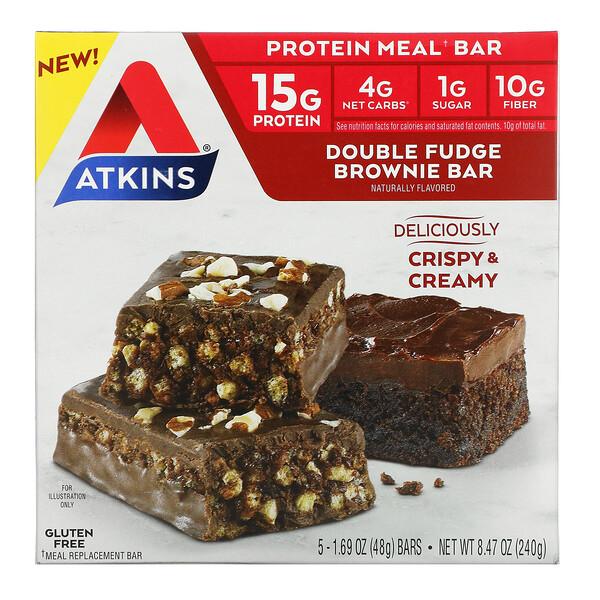 Protein Meal Bar, Double Fudge Brownie Bar, 5 Bars, 1.69 oz (48 g) Each