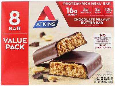 Купить Atkins Chocolate Peanut Butter Bar, 8 Bars, 2.12 oz (60 g)