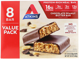 Atkins, Meal Bar, Chocolate Peanut Butter Bar, 8 Bars, 2.12 oz (60 g)