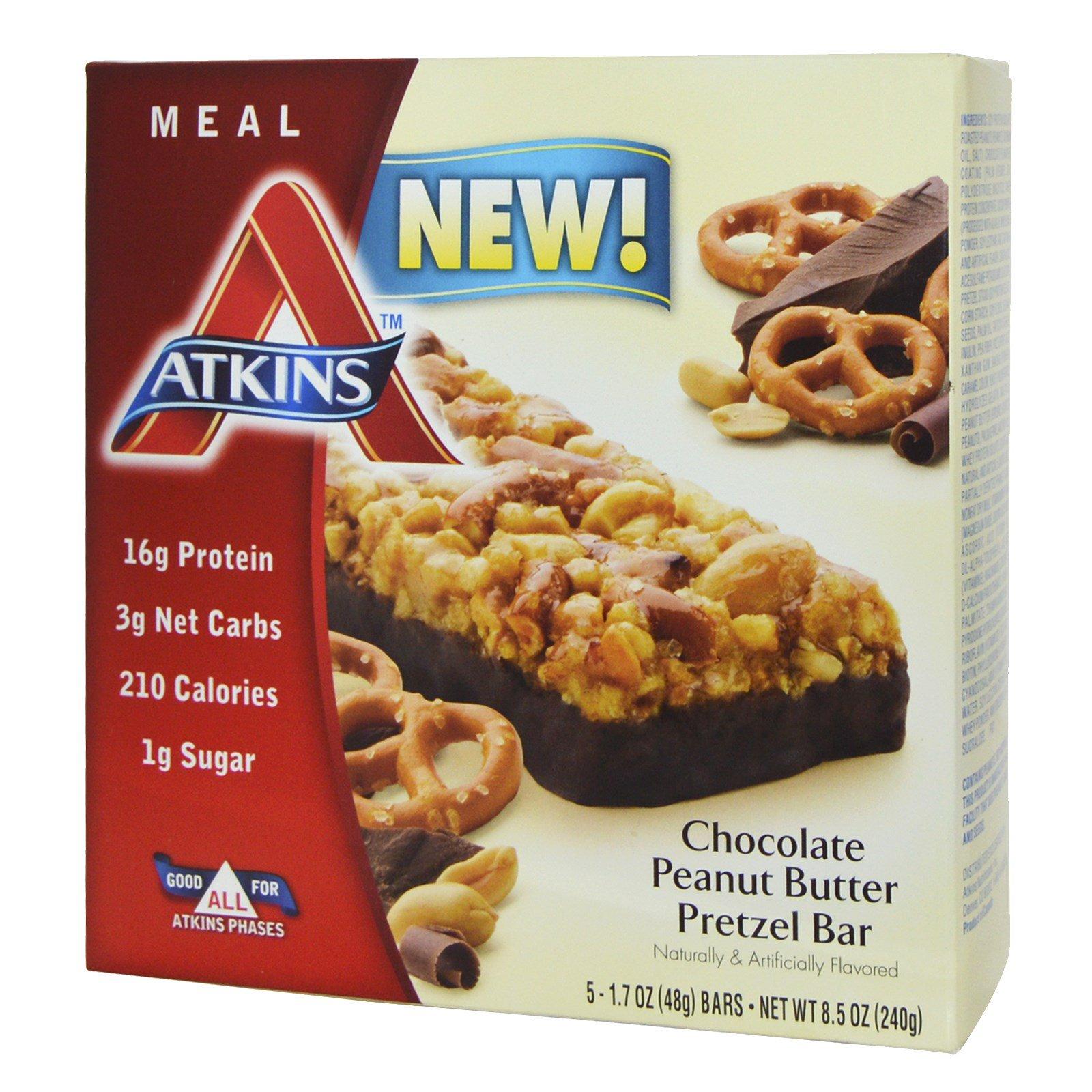 Atkins, Батончики со вкусом претцелей с шоколадно арахисовой пастой, 5 батончиков, 1.7 унций (48 г) каждый
