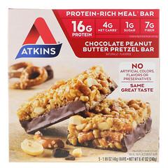 Atkins, Chocolate Peanut Butter Pretzel Bar, 5 Bars, 1.69 oz (48 g) Each