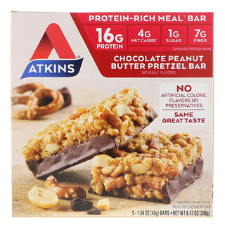 Atkins, Chocolate Peanut Butter Pretzel Bar, 5 Bars, 1.69 oz (48 g) Each