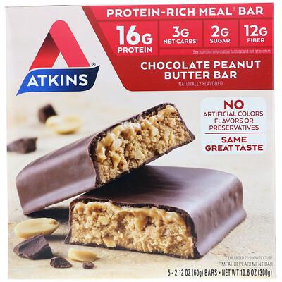 Купить Батончик для перекуса, шоколадно-арахисовое масло, 5 батончиков, 2, 12 унции (60 г) каждый