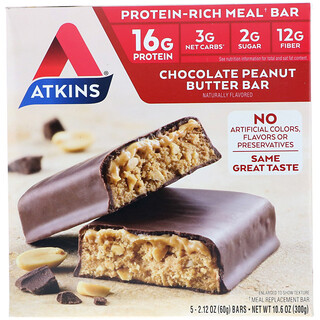 Atkins, Meal, Chocolate Peanut Butter Bar, 5 Bars, 2.1 oz (60 g) Each