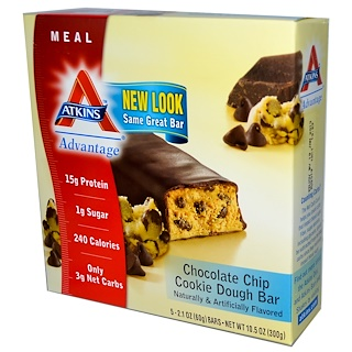 Atkins, Advantage, Chocolate Chip Cookie Dough Bar, 5 Bars, 2.1 oz (60 g) Each