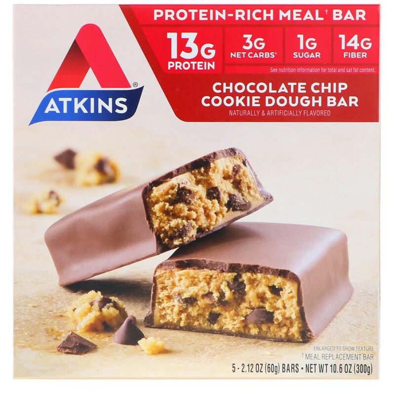 Atkins, Meal, Chocolate Chip Cookie Dough Bar, 5 Bars, 2.12 oz (60 g) Each