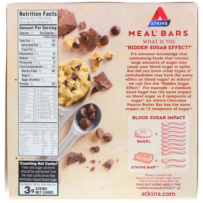 Atkins, Meal, Chocolate Chip Cookie Dough Bar, 5 Bars, 2.12 oz (60 g) Each - photo 1