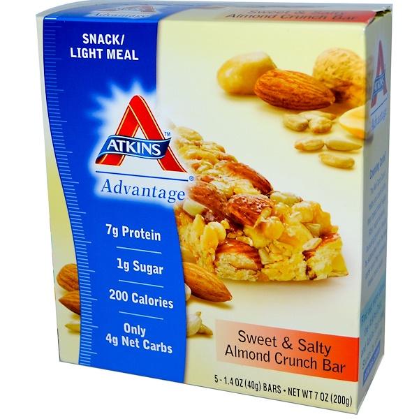 Atkins, Advantage, Sweet & Salty Almond Crunch, 5 Bars, 1.4 oz (40 g) Each (Discontinued Item)