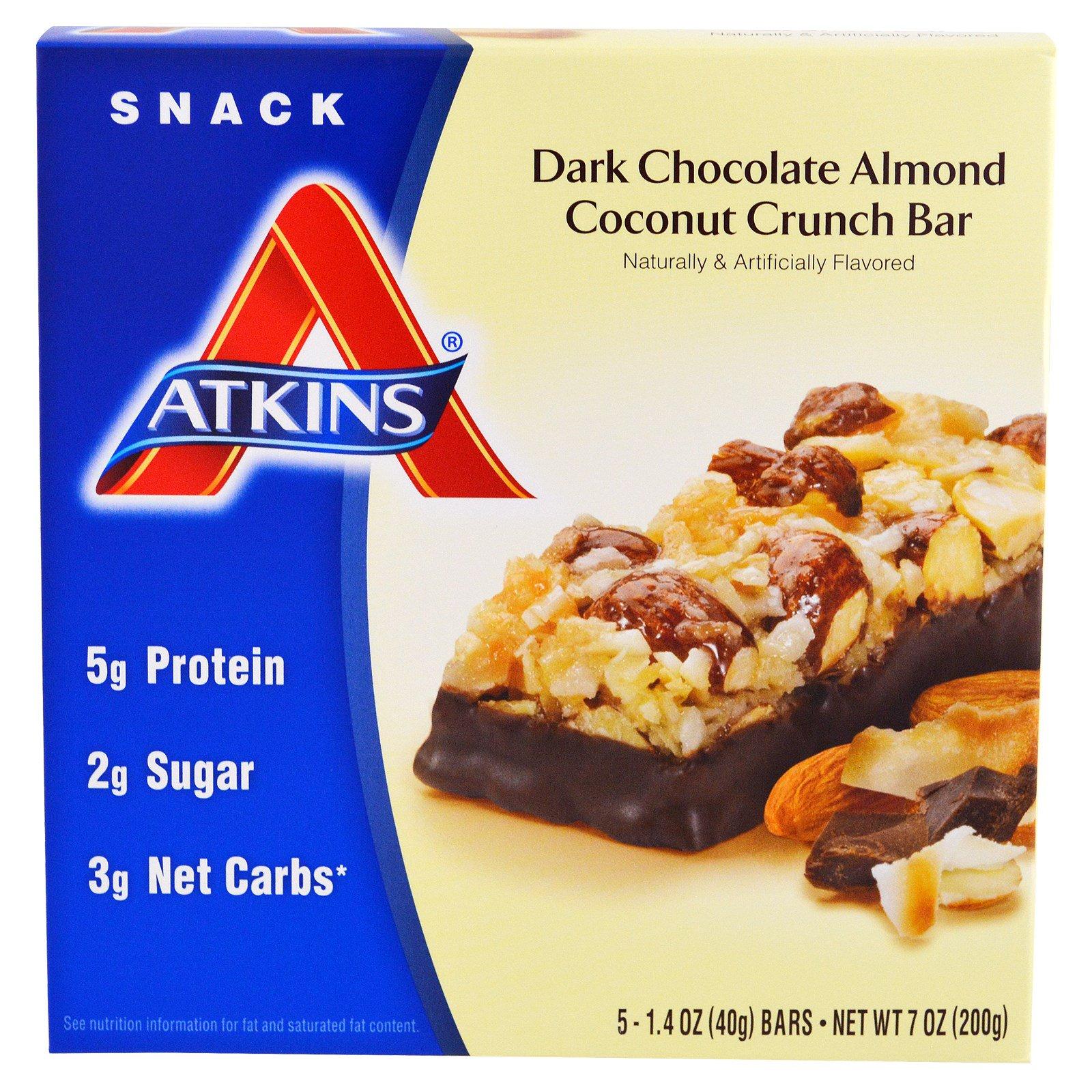 Atkins, Закуска, батончик черного шоколада с миндалем и кокосом, 5 батончиков, каждый по 1.4 унций (40 г)