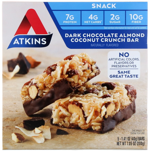 Atkins, Snack, Dark Chocolate Almond Coconut Crunch Bar, 5 Bars, 1.4 oz (40 g) Each (Discontinued Item)