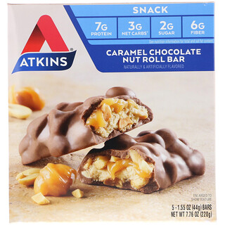 Atkins, Barra de panecillo de chocolate, caramelo y frutos secos, 5 barras, 1.55 oz (44 g) cada una