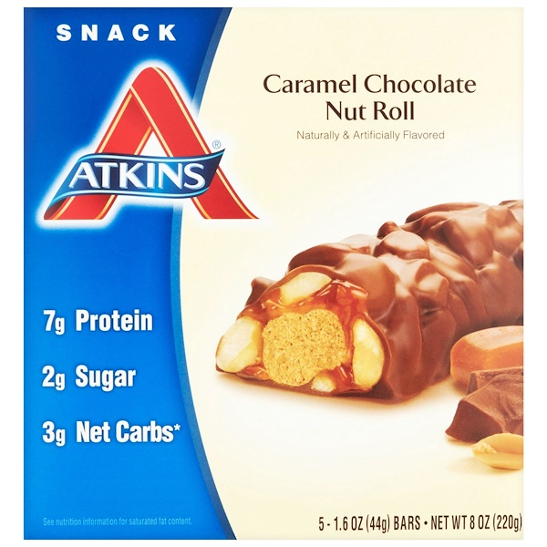 Atkins, Advantage, Caramel Chocolate Nut Roll, 5 Bars, 1.6 oz (44 g) Each