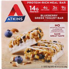 Atkins, Greek Yogurt Bar, Blueberry, 5 Bars, 1.69 oz (48 g) Each