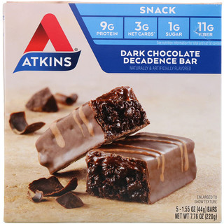 Atkins, Snack, Dark Chocolate Decadence Bar, 5 Bars, 1.6 oz (44 g) Per Bar
