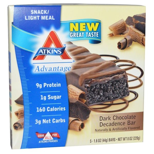 Atkins, Dark Chocolate Decadence Bar, 5 Bars, 1.6 oz (44 g) Per Bar