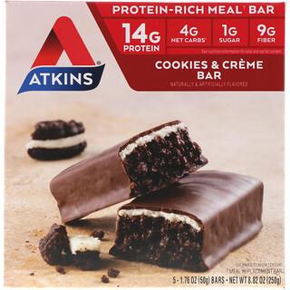 Atkins, Батончик для перекуса, батончик печенье и сливки, 5 батончиков, 1,76 унции (50 г) каждый