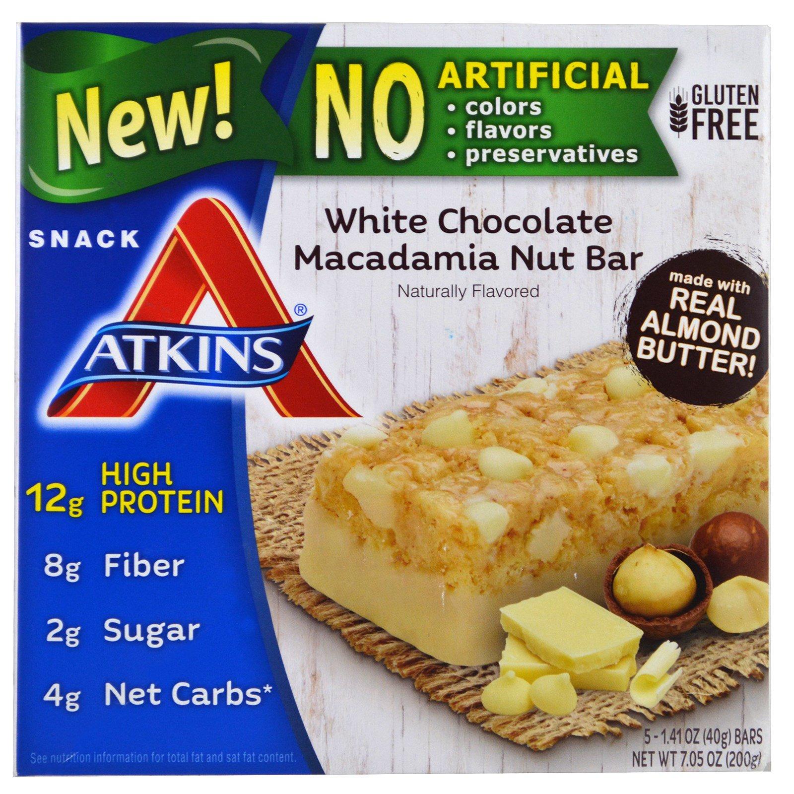 Atkins, Батончик с белым шоколадом, орехами и макадамией, 5 батончиков, 40 г (1,41 унции)