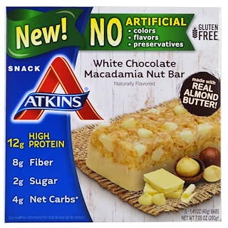 Atkins, White Chocolate Macadamia Nut Bar, 5 Bars, 1.41 oz (40 g) Each