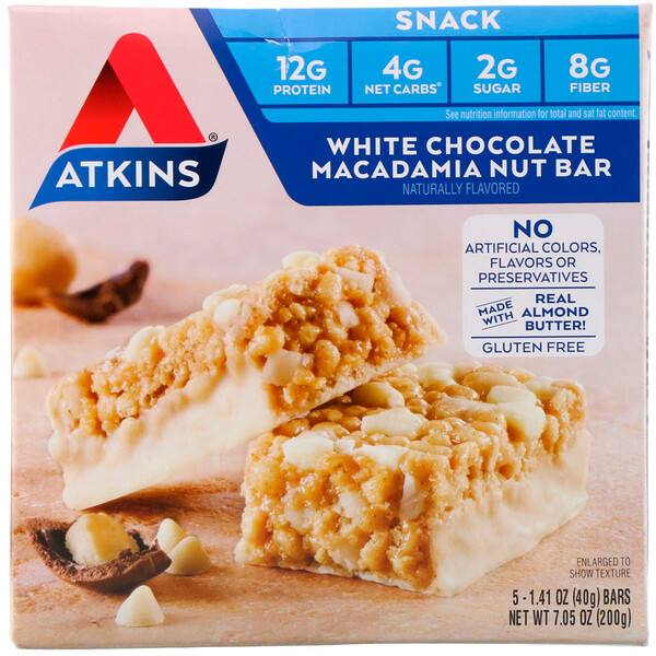 Atkins, Snacks, White Chocolate Macadamia Nut Bar, 5 Bars, 1.41 oz (40 g) Each