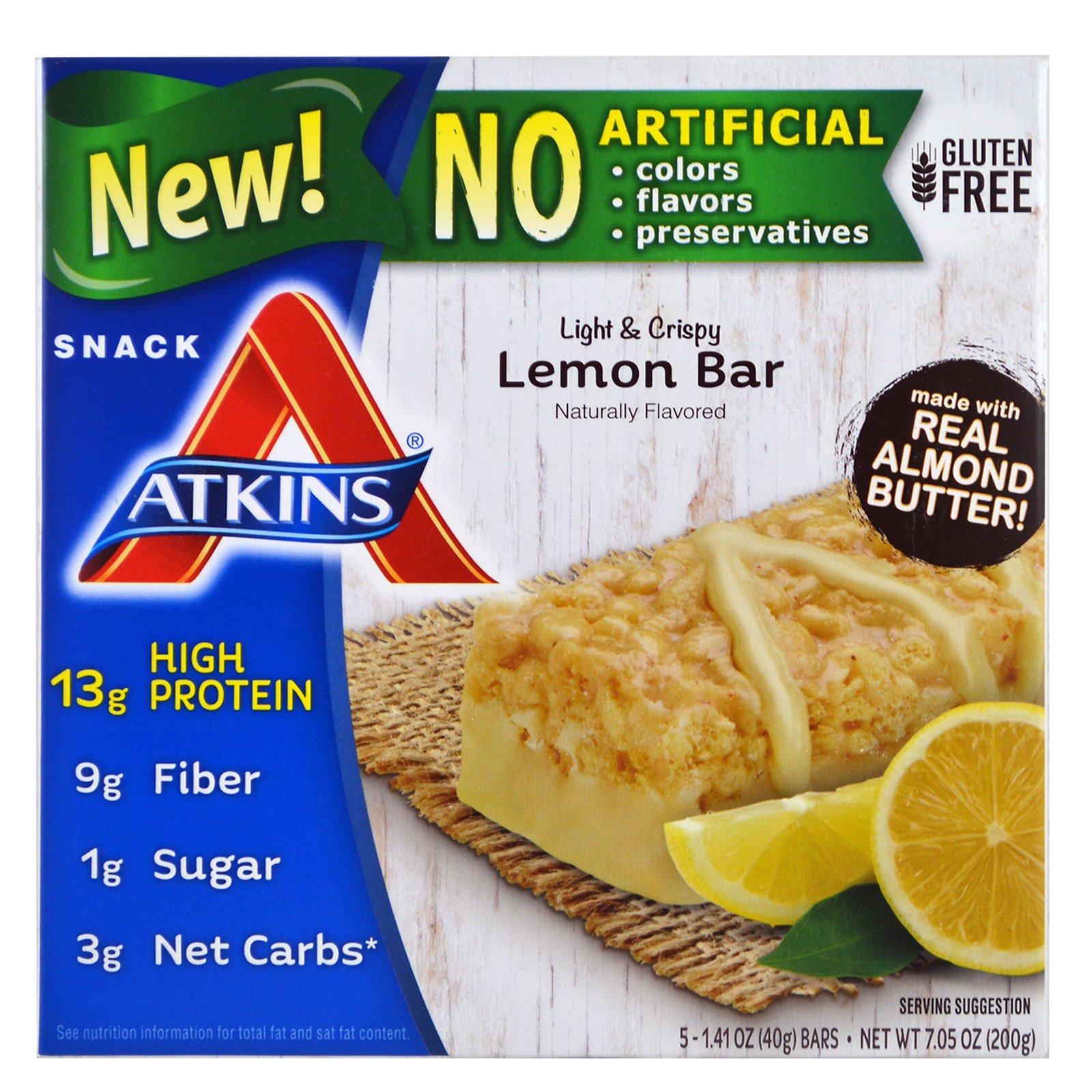 Atkins, Легкие и хрустящие лимонные батончики, 5 батончиков, 1.41 унции (40 г) каждый