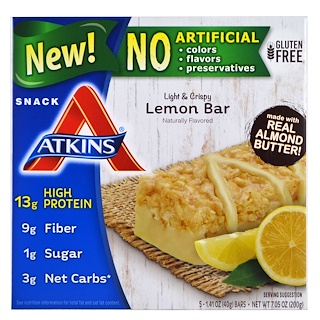 Atkins, Light & Crispy Lemon Bar , 5 Bars, 1.41 oz (40 g) Each