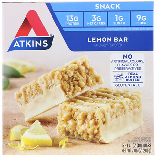 Atkins, Lemon Bar, 5 Bars, 1.41 oz (40 g) Each