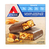 Atkins, Snack, Caramel Chocolate Peanut Nougat Bar, 5 Bars, 1.55 oz (44 g) Each