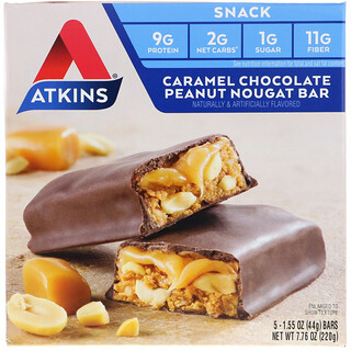 Atkins, Snack, Caramel Chocolate Peanut Nougat Bar, 5 Bars, 1.6 oz (44 g) Each