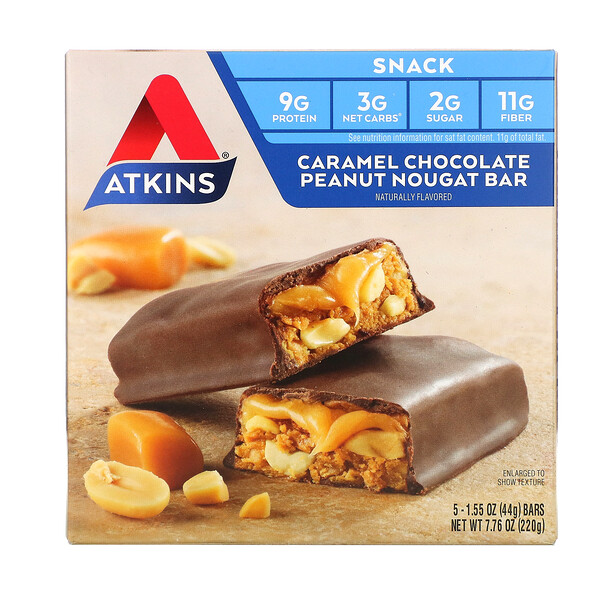 Snack, Caramel Chocolate Peanut Nougat Bar, 5 Bars, 1.55 oz (44 g) Each