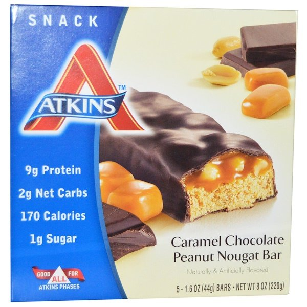 Atkins, Caramel Chocolate Peanut Nougat Bar, 5 Bars, 1.6 oz (44 g) Each