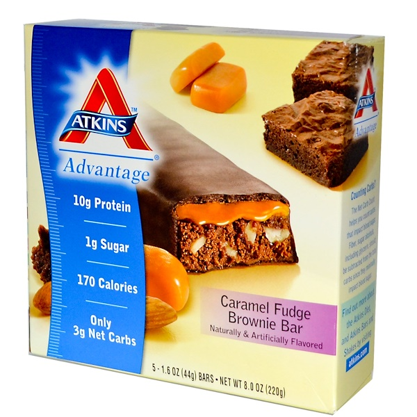 Atkins, Advantage, Caramel Fudge Brownie Bar, 5 Bars, 1.6 oz (44 g) Each (Discontinued Item)