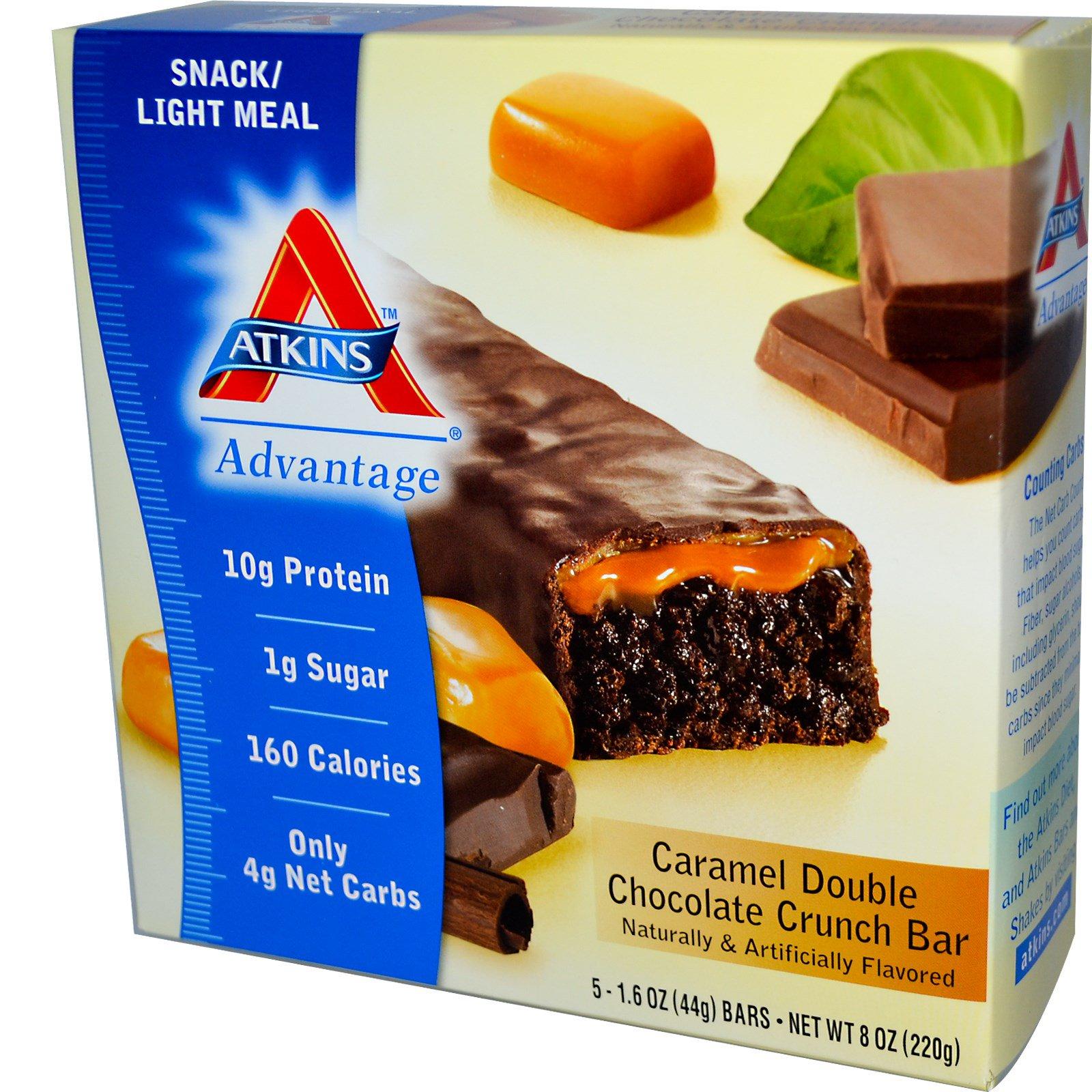 Atkins, Advantage, хрустящий батончик с карамелем и двойным шоколадом, 5 батончиков, 1.6 унции (44 г) каждый